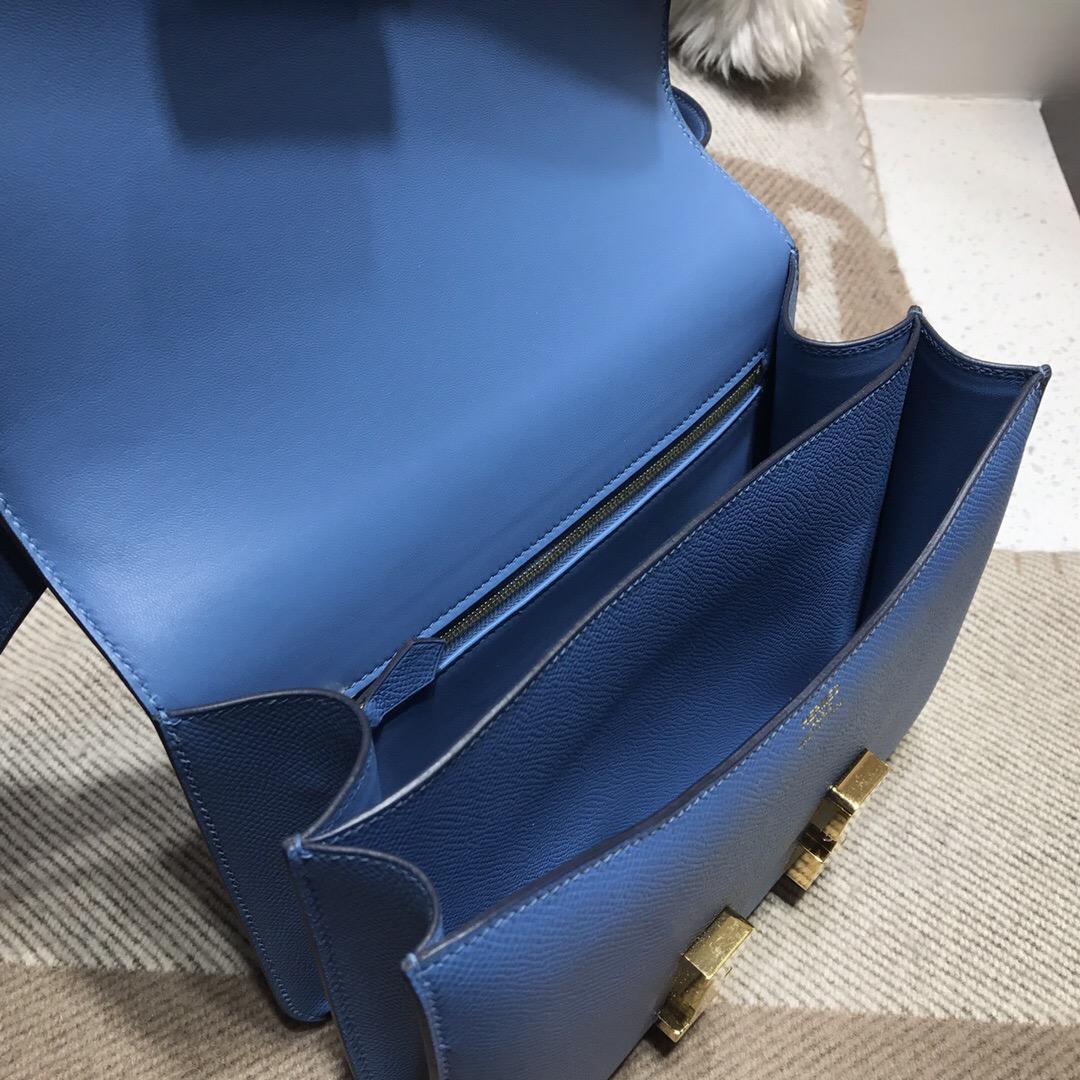 愛馬仕空姐包 康斯坦斯包 Hermes Constance 23 bag Epsom 7R Azur 天青藍