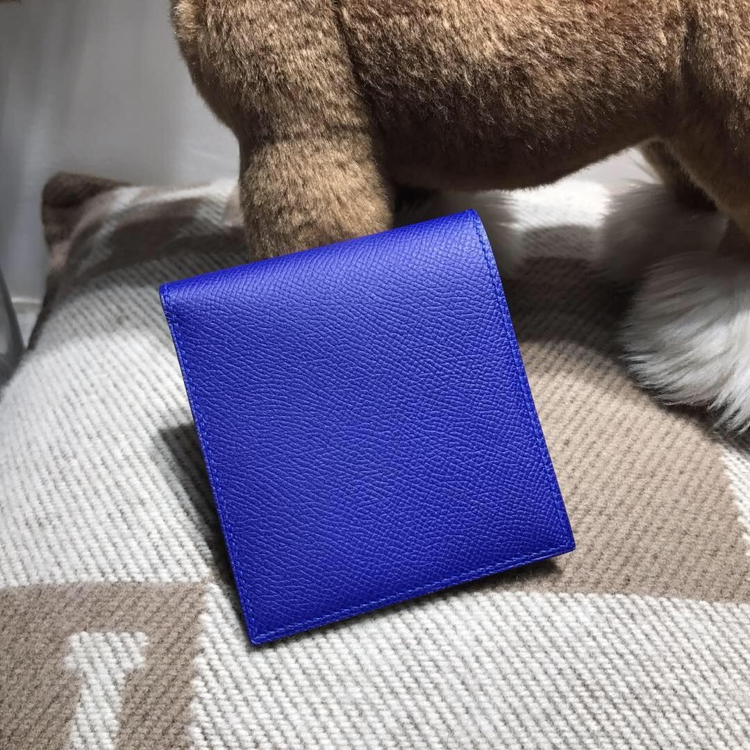 愛馬仕錢夹 Hermes Epsom bearn 短款兩折男士錢包 7T電光藍 Blue Electric