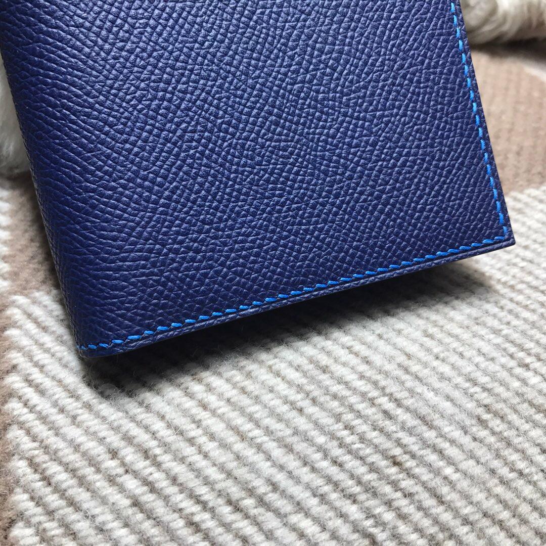 Hermes bearn兩折錢夾 西服夾 Epsom 7K寶石藍 2T天堂藍銀扣
