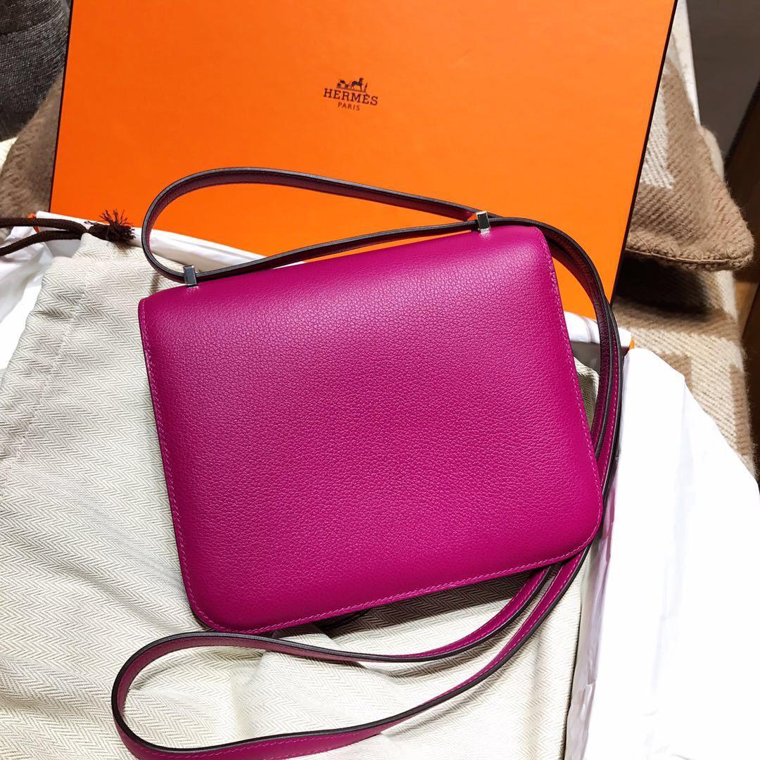 愛馬仕空姐包 康斯坦斯包Hermes Constance 18 evercolor L3玫瑰紫色 銀扣
