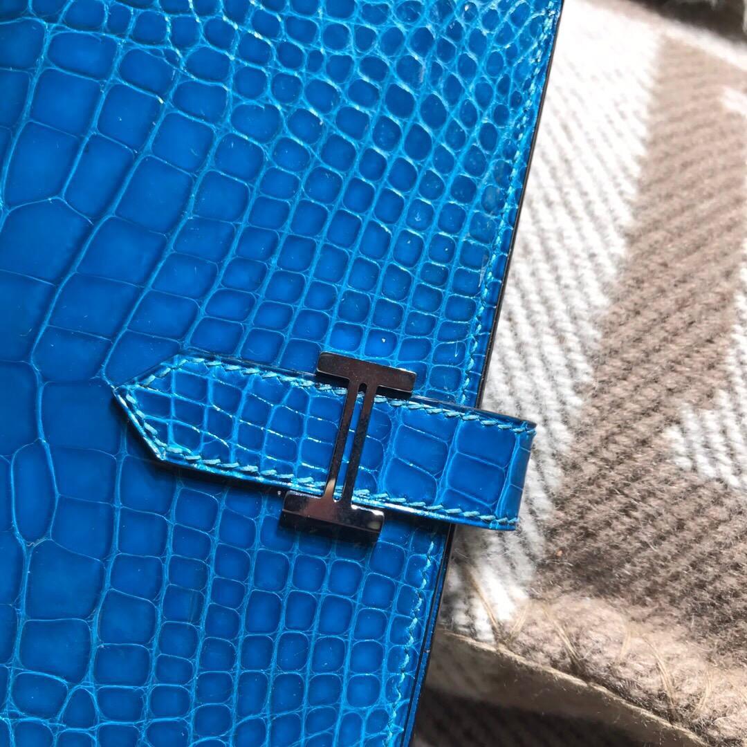 愛馬仕錢包 Hermes bearn 兩折錢夾 西服夾鱷魚7W伊茲密爾藍 Blue Lzmir銀扣