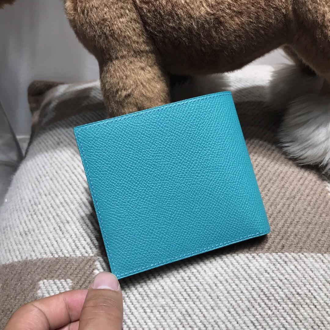 香港東區 Hermes Epsom bearn 短款兩折男士錢包 7F孔雀藍 Blue Paon