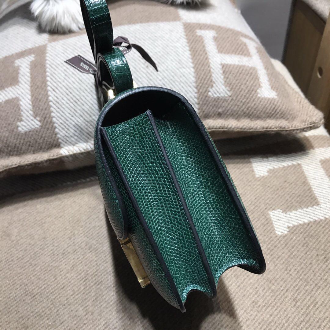Hermes constance bag 18 蜥蜴皮 CK67祖母綠 Vert Fonce  金扣