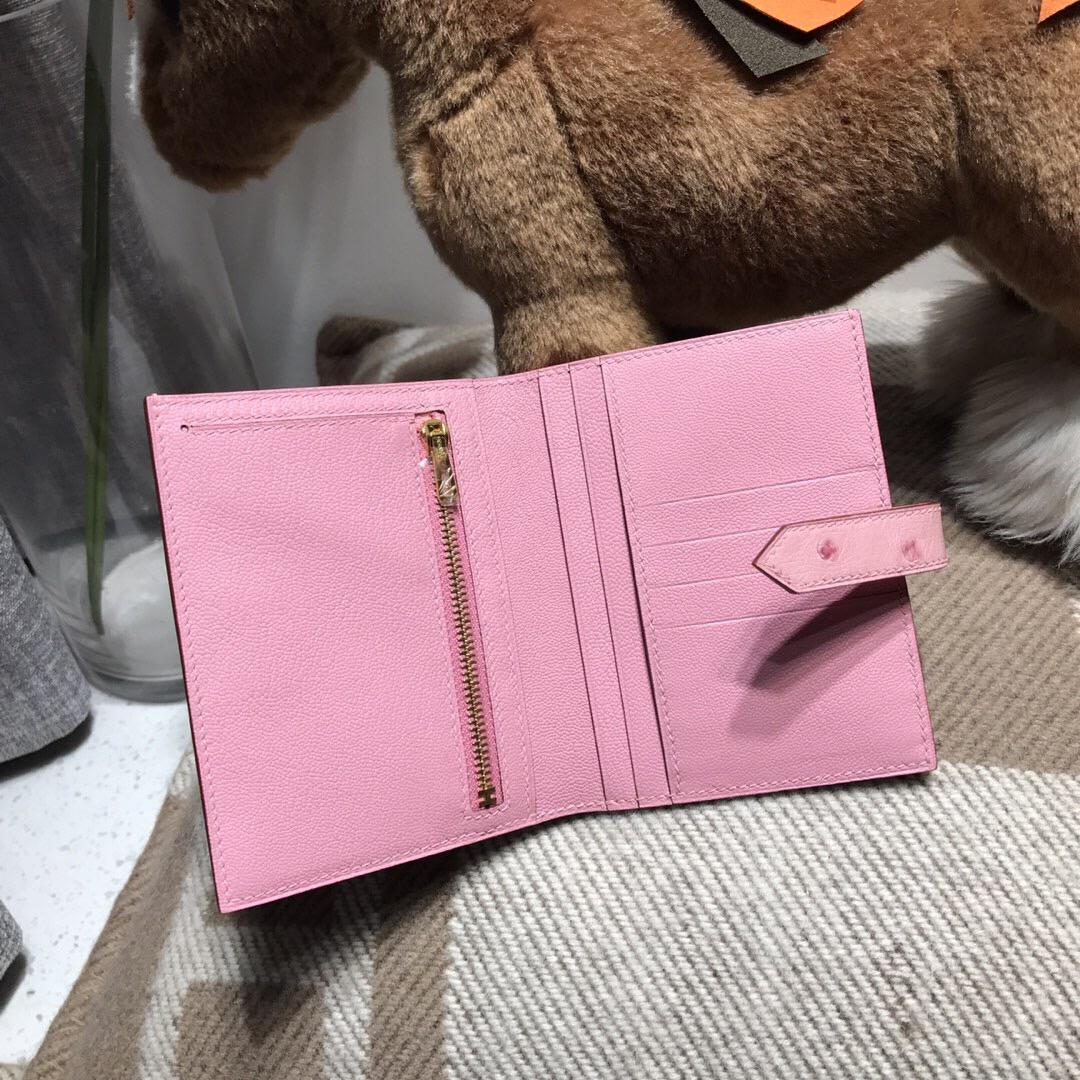 Hermes bearn錢包 鴕鳥皮 Ostrich leather兩折短款錢夾 1Q 奶昔粉