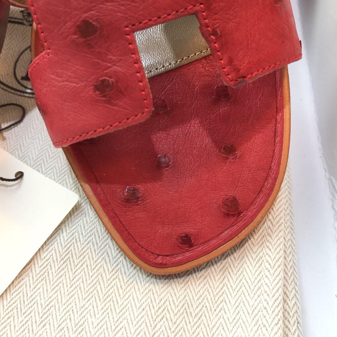 愛馬仕Hermes 經典款女士涼鞋 H型拖鞋 鴕鳥皮Ostrich leather Q5國旗紅