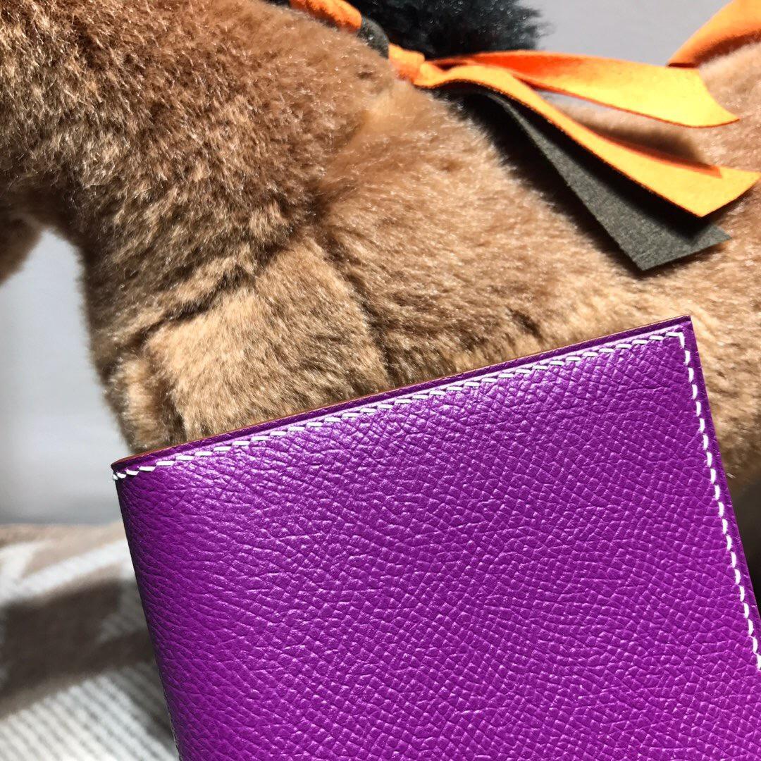 Hermes bearn 兩折錢夾 西服夾 Epsom牛皮 海葵紫 大象灰 白色線