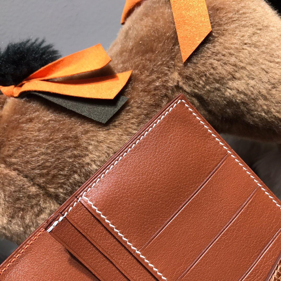 Hermes bearn 兩折錢夾 西服夾 swift火焰橙 9J Feu火焰橙 金棕色搭配蜥蜴皮