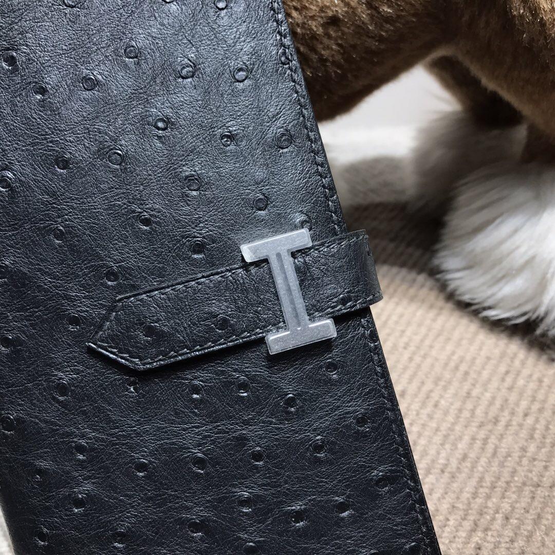 愛馬仕錢包 Hermes bearn 兩折錢夾 鴕鳥皮 黑色 CK89 Nior 銀扣