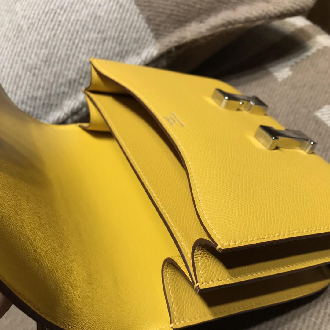 愛馬仕康斯坦斯包 Hermes Constance 18 Epsom 9D湖泊黄色 银扣
