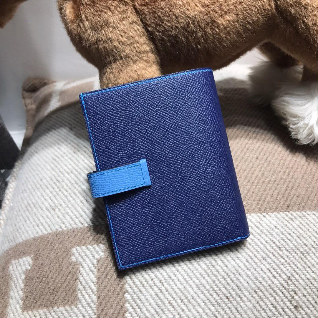 Hermes bearn兩折短款錢夾 西服夾Epsom 7K寶石藍 2T 天堂藍 銀扣
