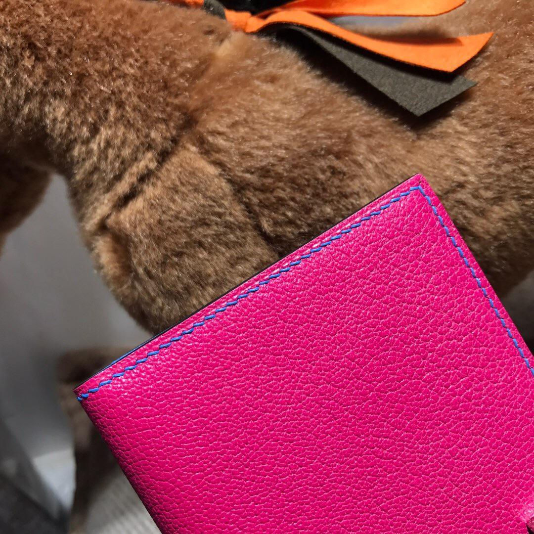 Hermes bearn 兩折錢夾 西服夾 錢包 山羊皮 E5糖果粉色 2T天堂藍