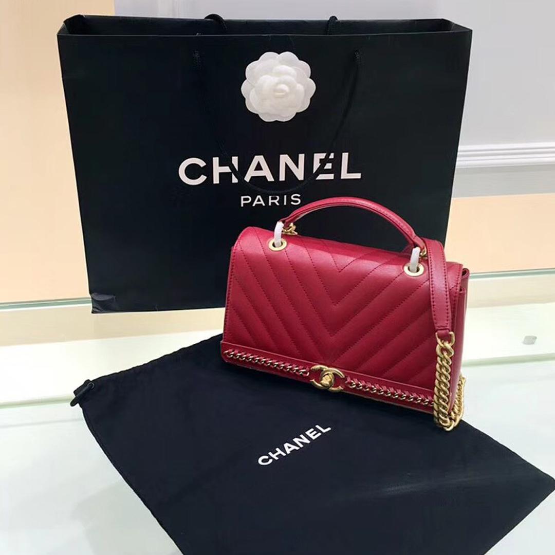 香奈兒 handbag 口蓋包配以手柄紅色小羊皮革配鏈條與金色金屬