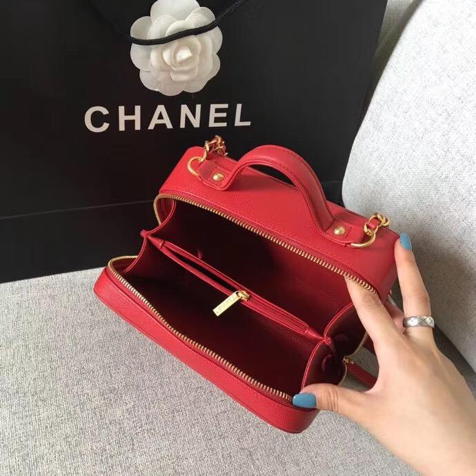 香奈兒中號Vanity Case bag 红色顆粒壓花球紋小牛皮 化妝包