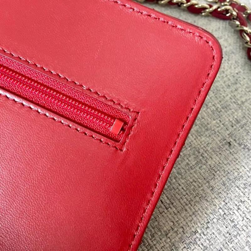 香奈兒 2018年新款woc 鏈條小包 發財包 红色羊皮革與全鋼定制五金