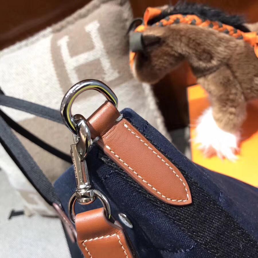 愛馬仕帆布包圖片價格 Hermes vintage Cavalier帆布包 蓝色 沙灘托特媽咪包