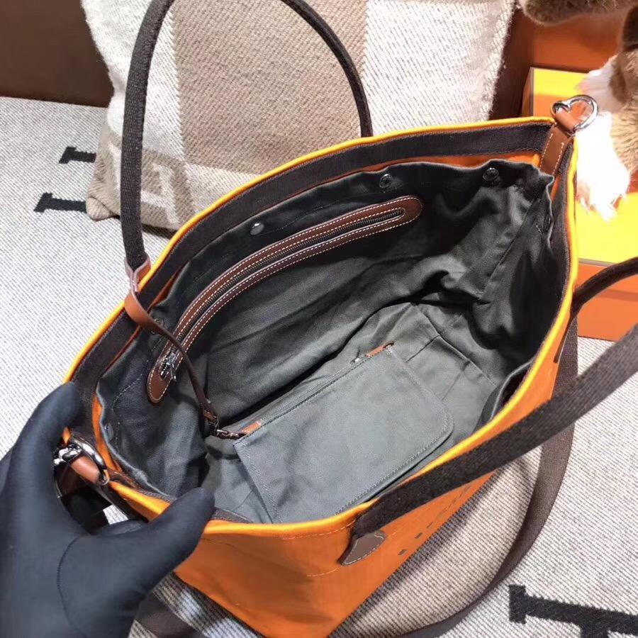 愛馬仕帆布包圖片價格 Hermes vintage Cavalier帆布包橙色 沙灘托特媽咪包