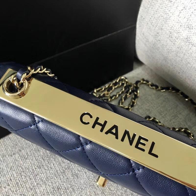 香奈兒2018年新款woc 鏈條小包 發財包 海軍藍 羊皮革與全鋼定制五金
