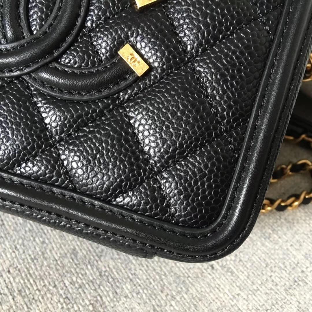 香奈兒小號 黑色顆粒壓花球紋小牛皮 化妝包 Vanity Case bag