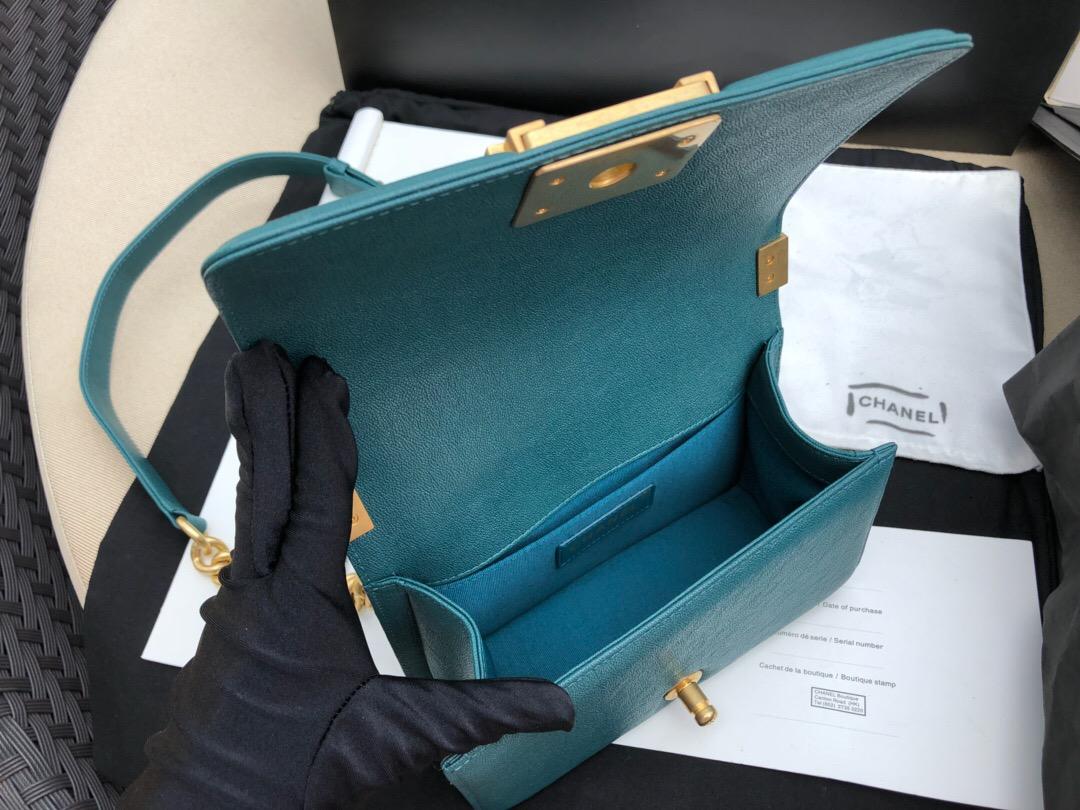香奈兒 MINI Leboy bag口蓋包 INCAS 湖水綠 水洗胎牛 魚子醬細球紋沙金金屬