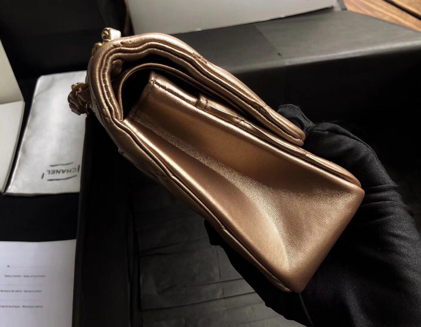 """香奈兒金色山羊皮Classic Flap Bag 世紀希臘新CF之作"""" 抽繩紋 復古沙金扣"""