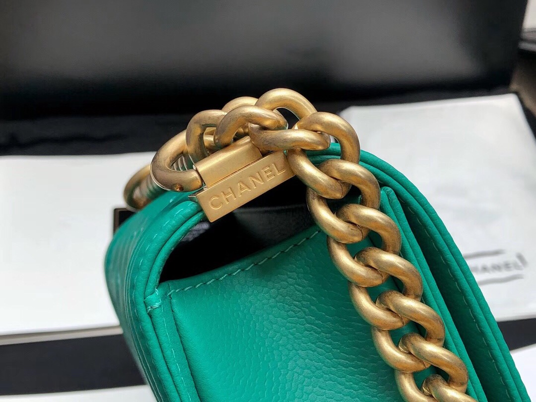 香奈兒口蓋包 MINI Leboy bag 孔雀綠色 INCAS 胎牛皮 沙金色金屬