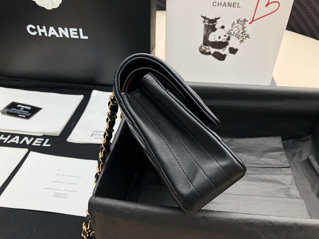 香奈兒 Classic Flap Bag 黑色小羊皮 菱格鏈條口蓋包 V型車縫線 金色金屬