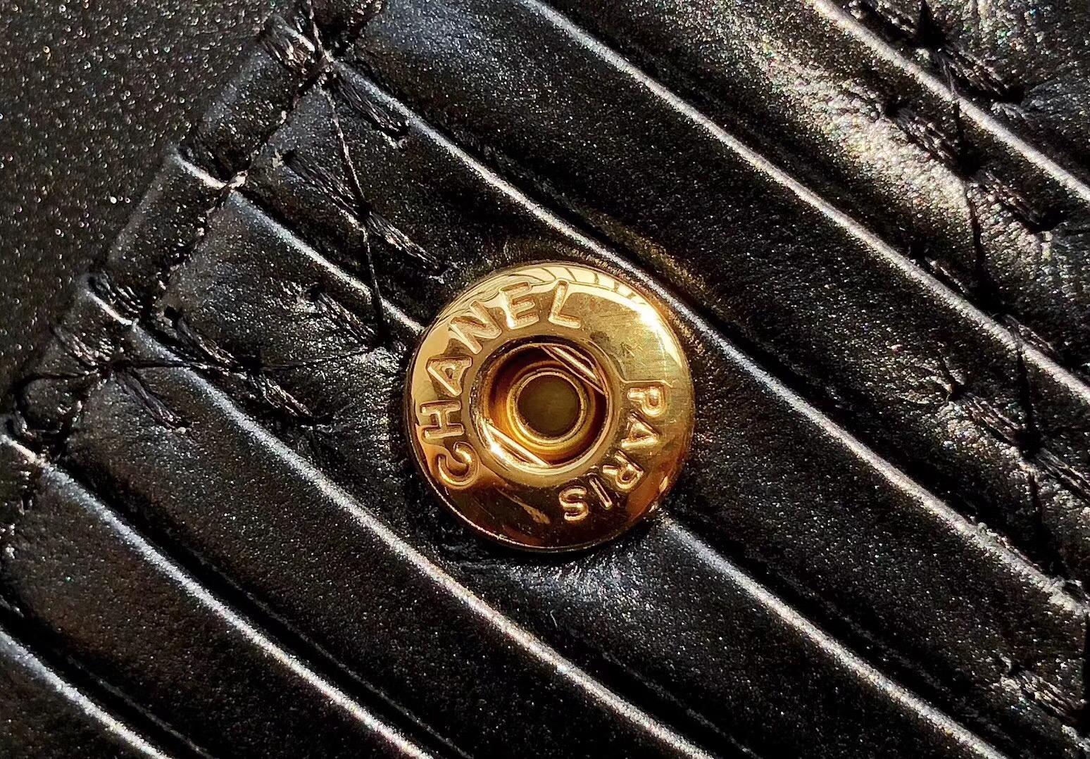 """香奈兒Classic Flap Bag 黑色山羊皮 """"世紀希臘新CF之作""""抽繩山羊皮 沙金"""