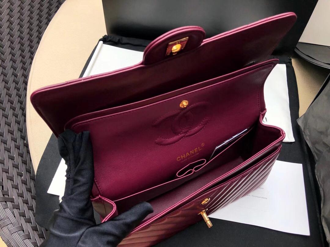 Chanel Classic Flap Bag 酒红色 小羊皮鏈條經典口蓋包 金色金屬