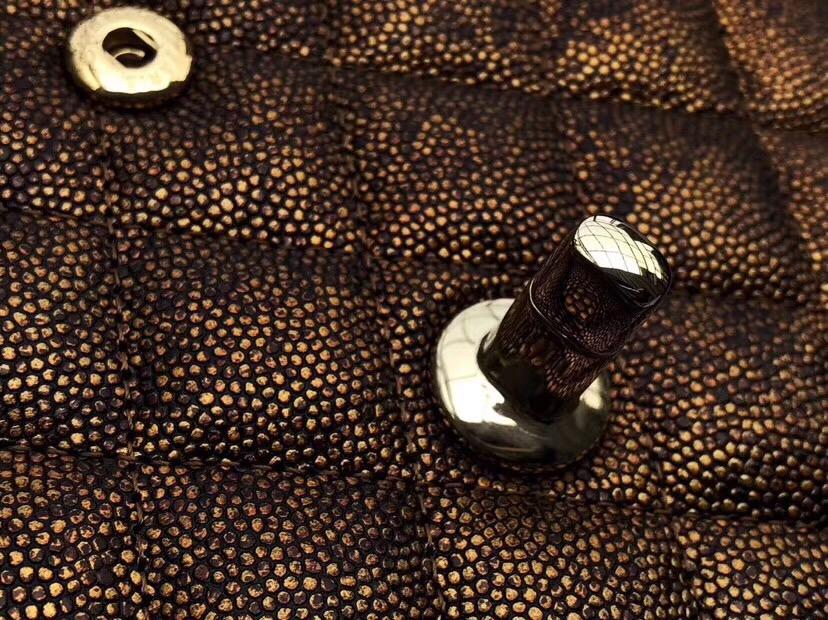 香奈兒口蓋包走秀限量款Classic Flap Bag銹跡銅 HAAS魚子醬小牛皮菱格鏈條包