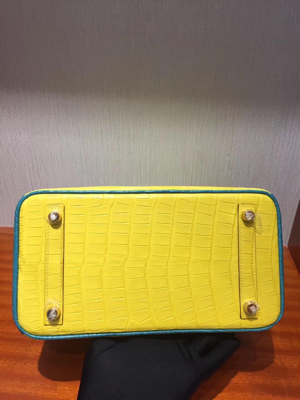 Hermes Birkin 25cm Bag 霧面兩點鱷魚 雙拼色 9R檸檬黃/1K竹子綠 馬蹄印