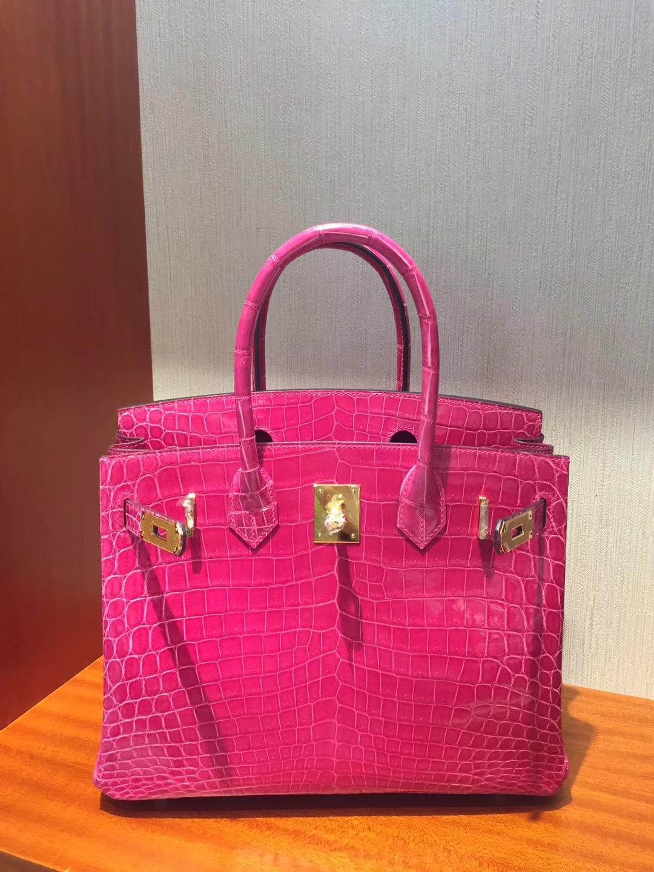 香港海港城專賣店 愛馬仕鉑金包 Hermes Birkin 25 Bag亮面兩點鱷魚皮 5J桃粉色