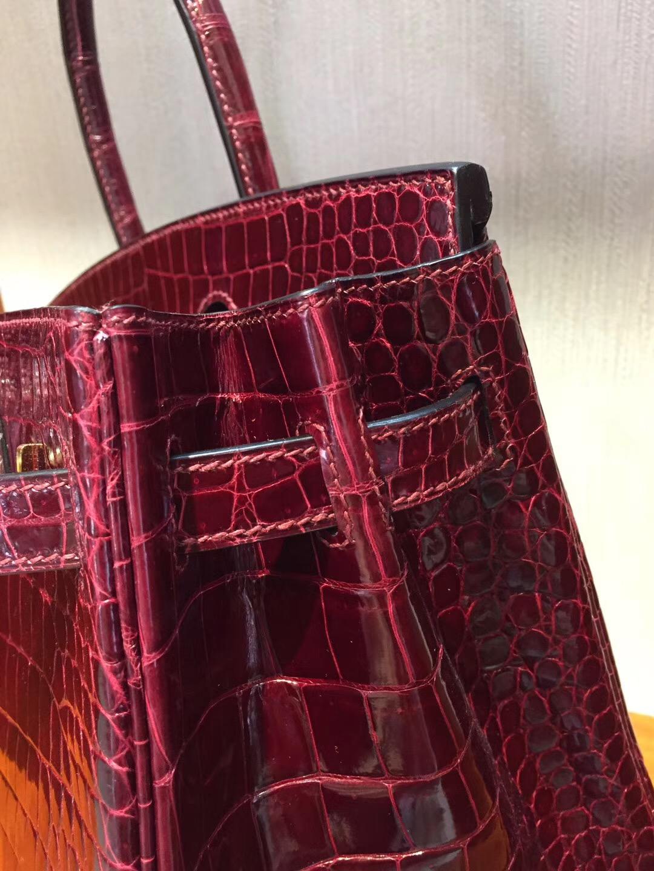 香港太古廣場專賣店 Hermes Birkin 25亮面兩點鱷魚皮 F5勃根第酒紅