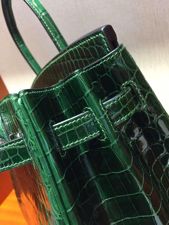 愛馬仕鱷魚皮鉑金包 Hermes Birkin 25 Bag 亮面鱷魚皮 CK67祖母綠 銀扣