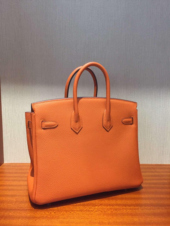 愛馬仕鉑金包價格 Hermes Birkin 25 Bag Togo小牛皮 CK93橙色 全手工蜜蠟線縫