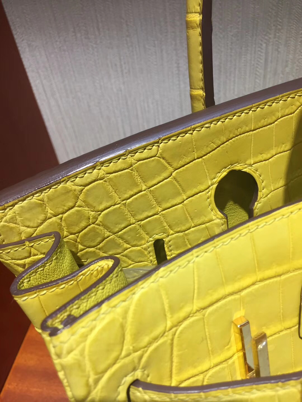香港太古廣場專賣店Hermes Birkin 25cm Bag 霧面鱷魚皮 9R檸檬黃