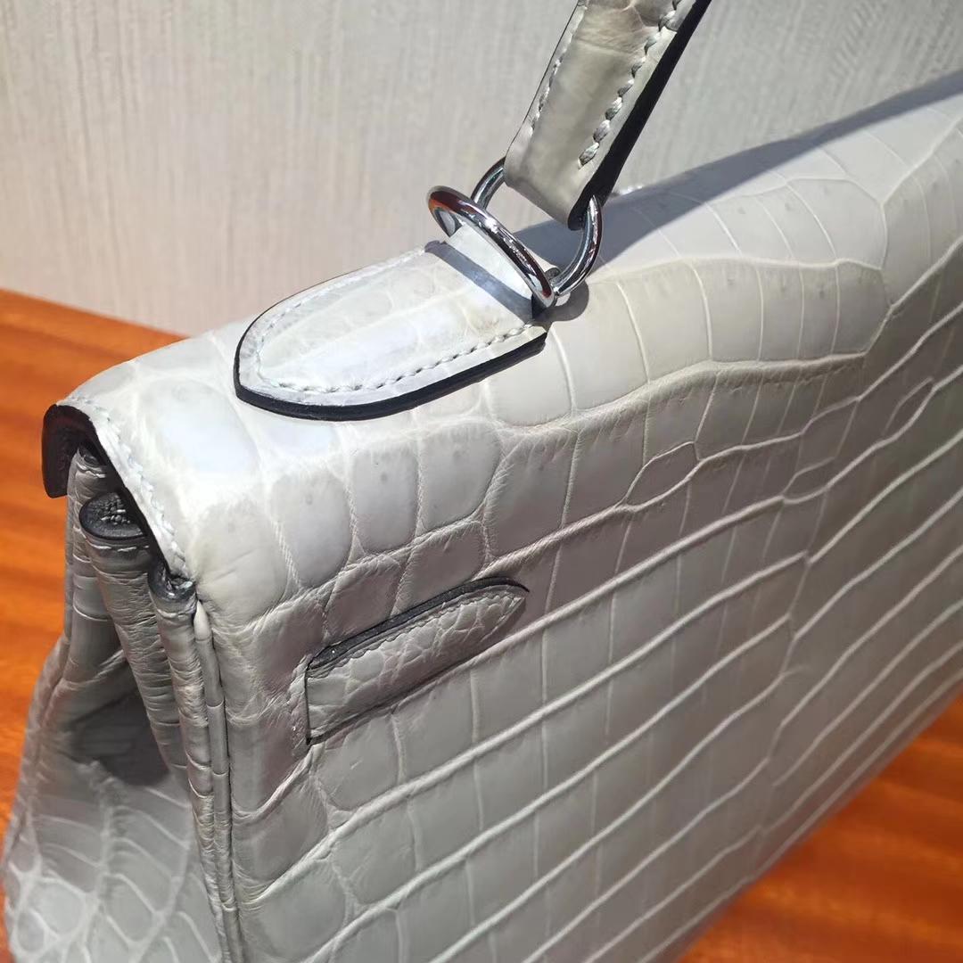 愛馬仕凱莉包Hermes Kelly bag 32霧面方塊鱷魚皮革 8M銀河灰 巴黎灰全手縫