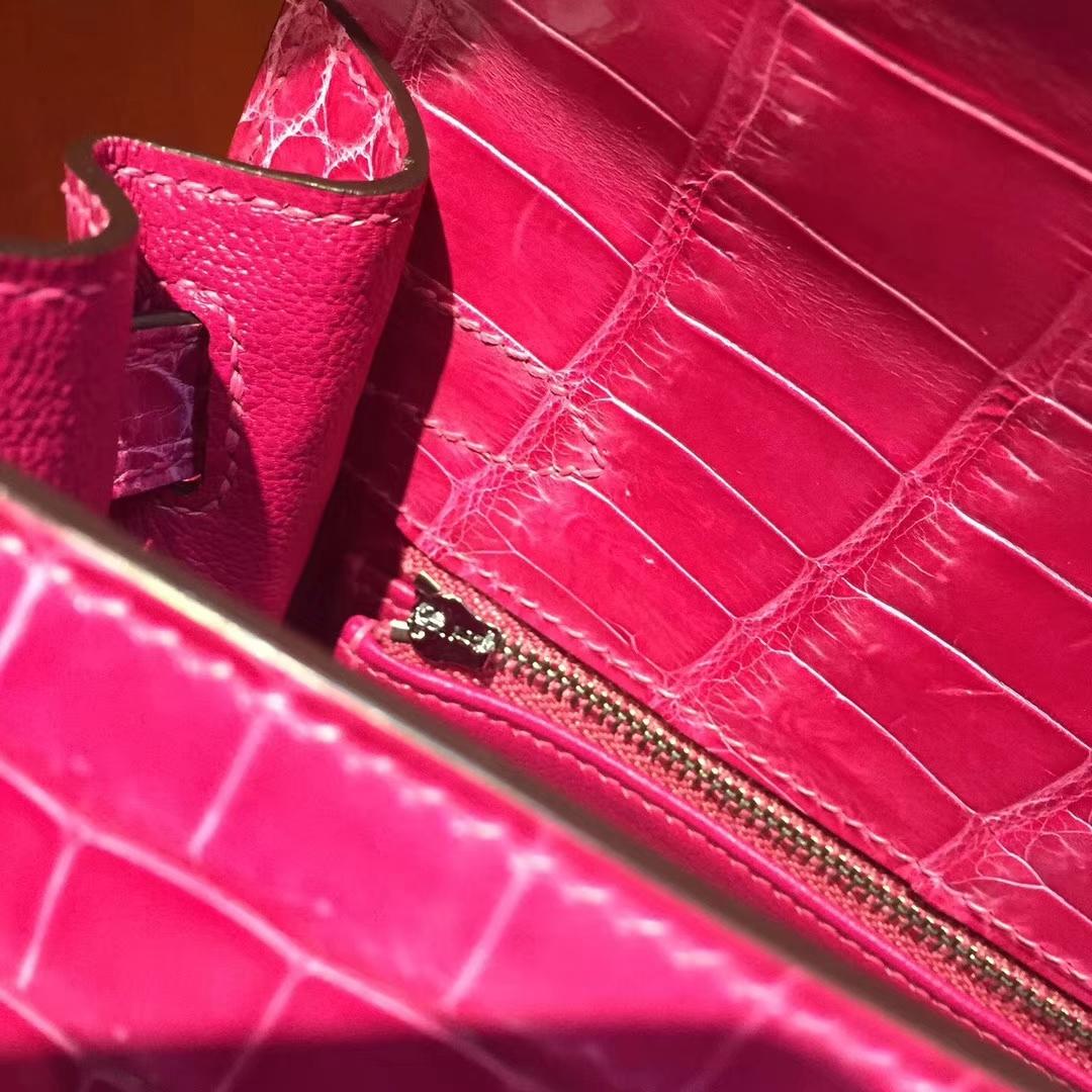 愛馬仕凱莉包價格Hermes J5桃紅色Kelly bag 28cm 亮面鱷魚皮