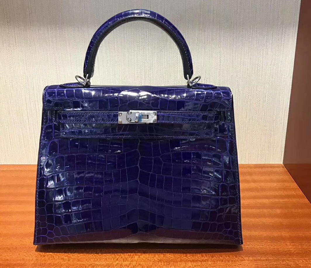 愛馬仕凱莉包價格 Hermes Kelly bag 25 倒V亮面澳洲灣鱷魚皮 7T電光藍 銀扣金屬