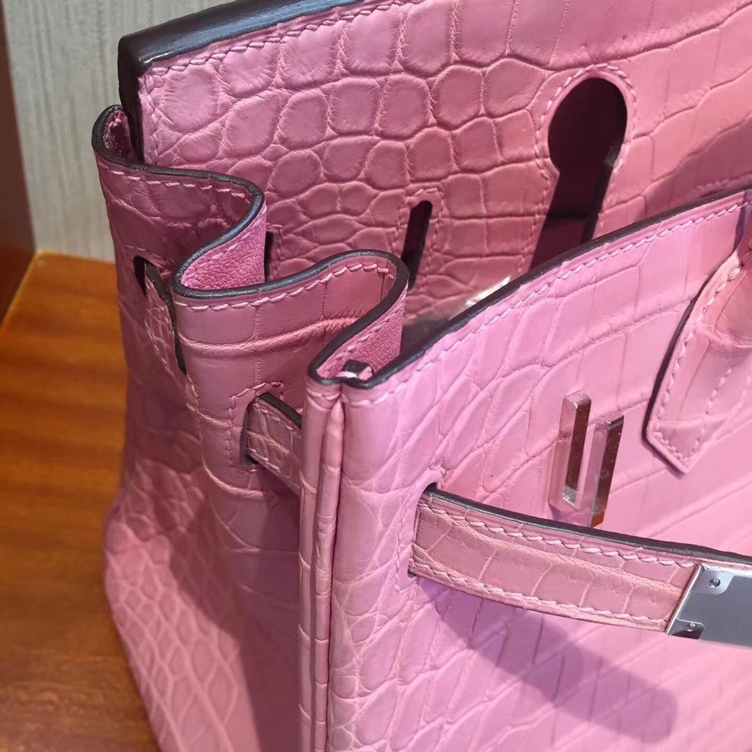 愛馬仕鉑金包價格2018 Hermes Birkin 25cm Bag 霧面鱷魚皮 5P櫻花粉
