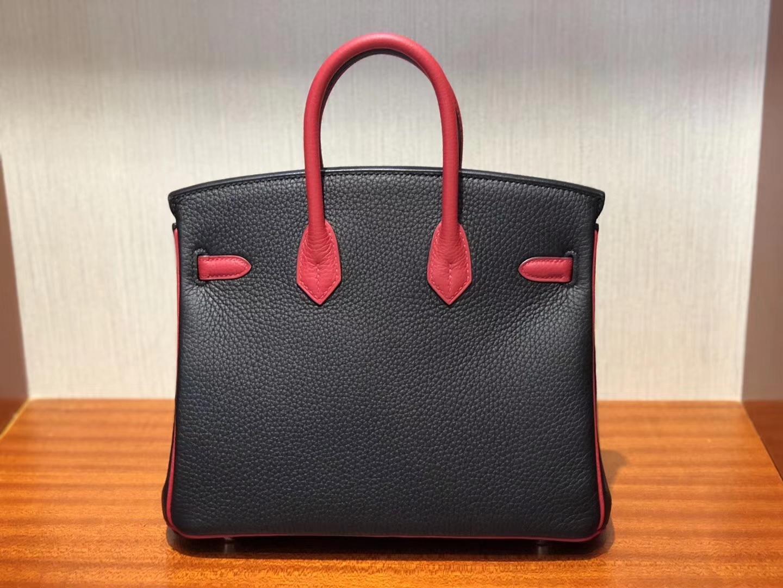 愛馬仕鉑金包Hermes Birkin 25cm Bag Togo小牛皮 CK89黑色/Q5國旗紅
