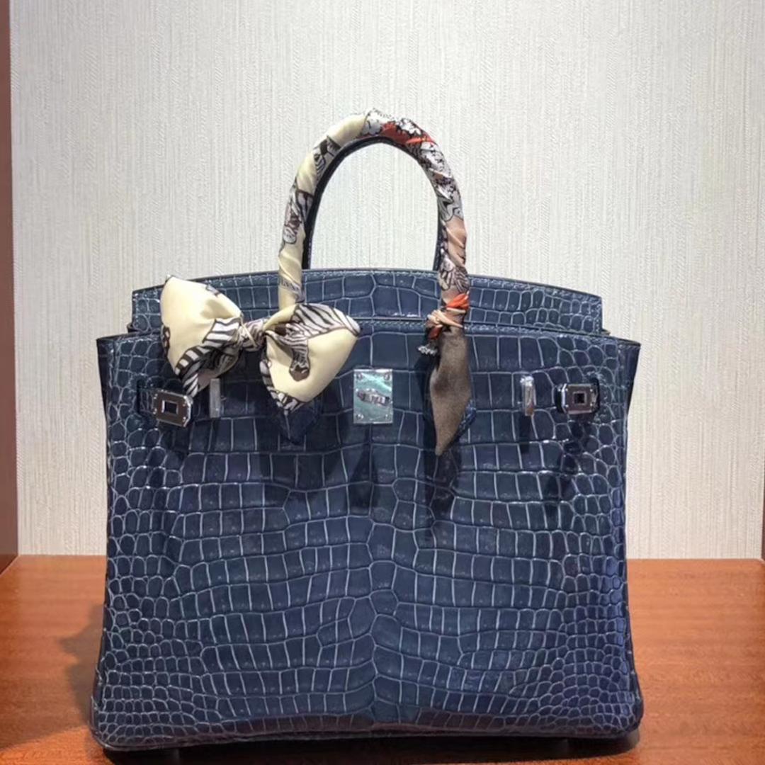 愛馬仕鱷魚皮鉑金包Hermes Birkin 25cm Bag 亮面兩點鱷魚皮 N7風暴藍