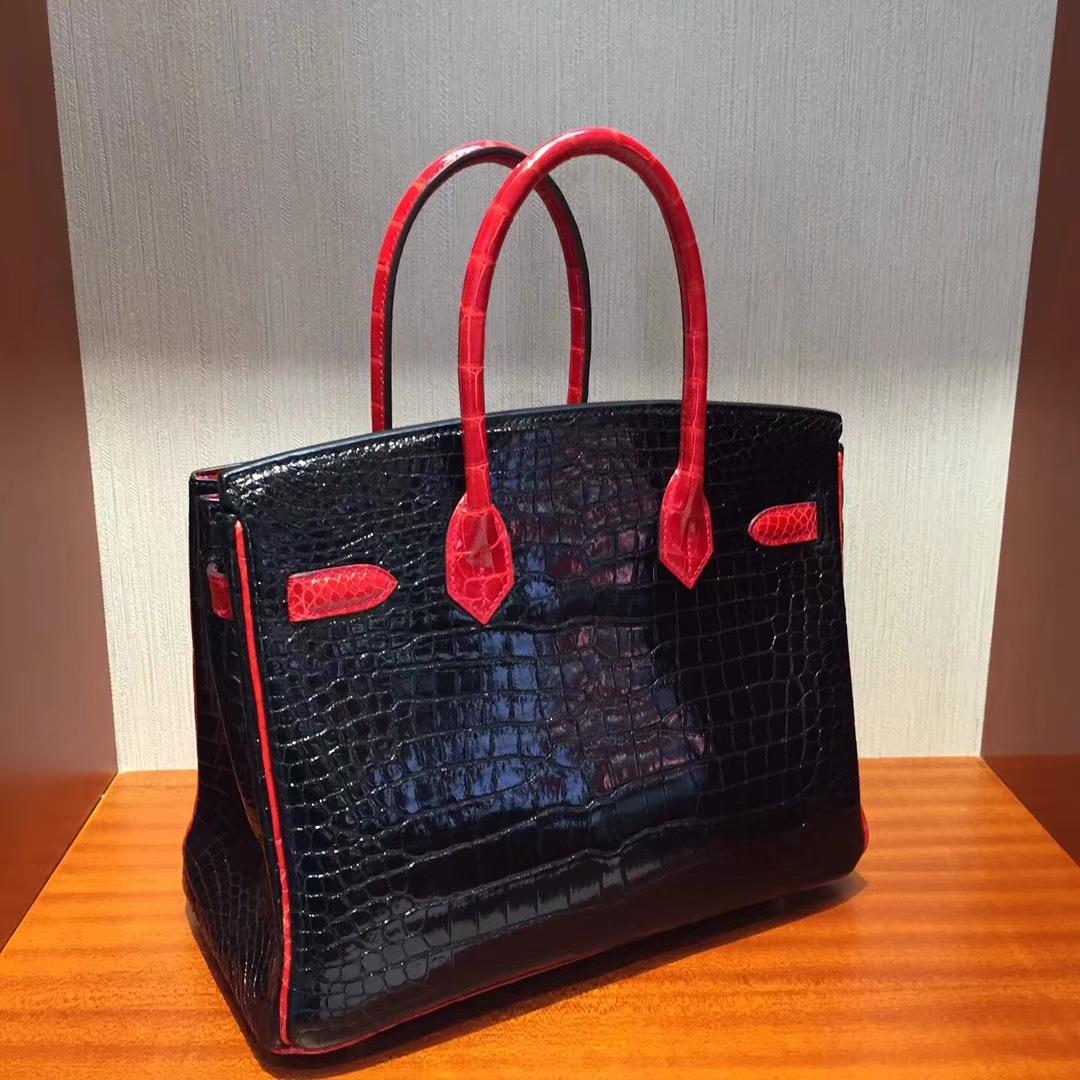香港國際機場專賣店Hermes Birkin 25 Bag 兩點鱷魚皮CK89黑色/CK95法拉利紅