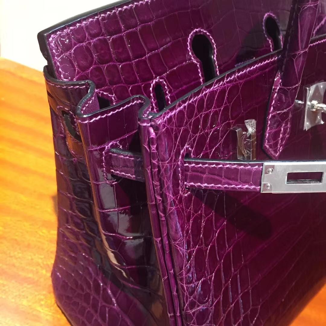 溫哥華巴拉德大街專賣店Hermes Birkin 25cm Bag 亮面鱷魚皮 葡萄紫