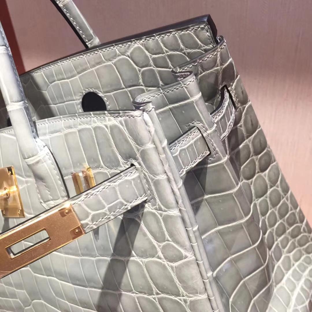 阿姆斯特丹史基浦機場專賣店Hermes Birkin 25 Bag亮面鱷魚皮 8U冰川藍