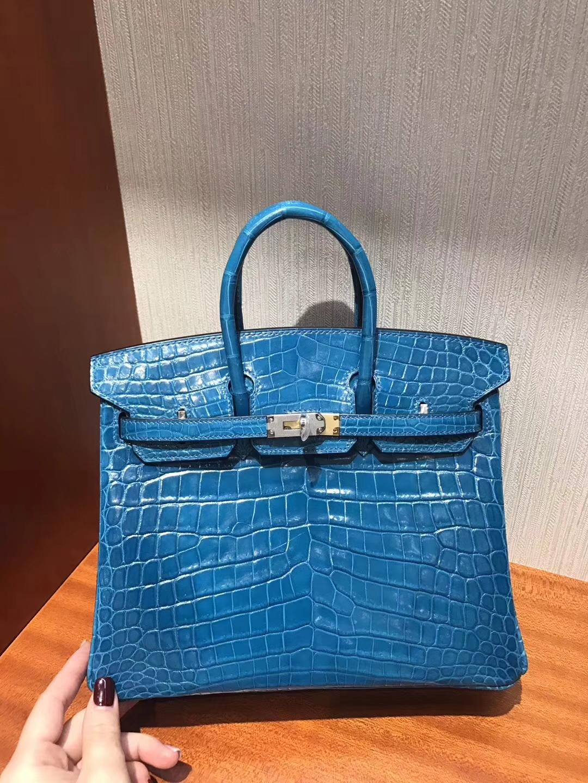 澳大利亞黃金海岸專賣店Hermes Birkin 25 Bag亮面兩點鱷魚皮 7W伊茲密爾藍