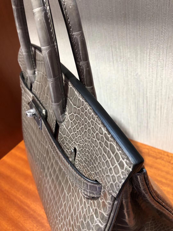 臺南新天地新光三越專賣店Hermes Birkin Bag 30亮面倒V澳洲灣鱷CK81斑鳩灰