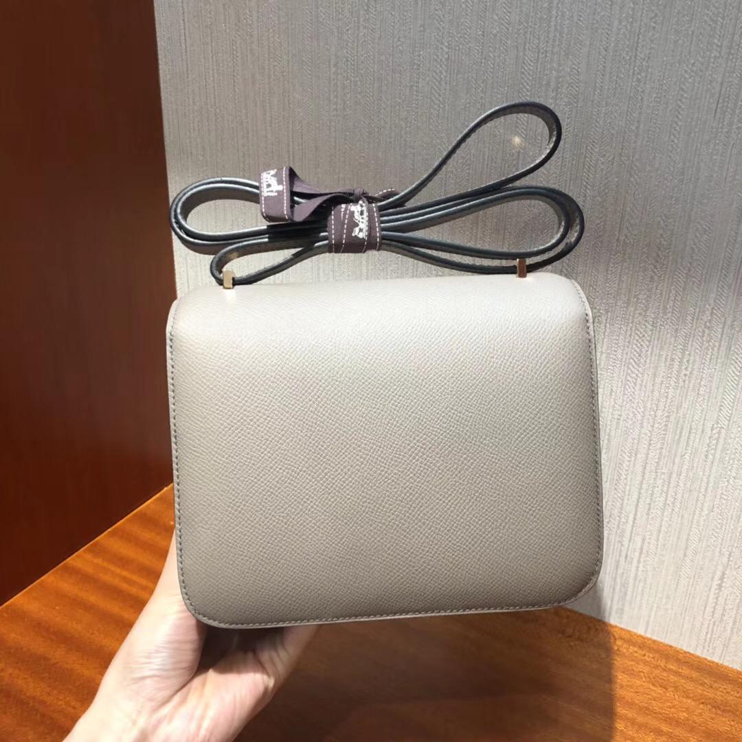 愛馬仕空姐包 Hermes Constance 18 Bag m8瀝青灰 Epsom手掌紋 玫瑰金扣
