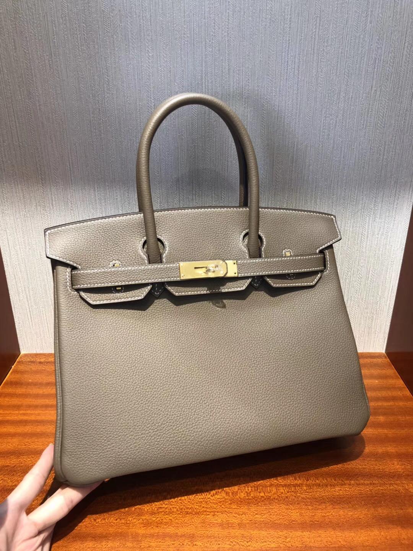 香港愛馬仕鉑金包 Hermes Birkin 30 Bag CK18大象灰 Togo小牛皮 金扣