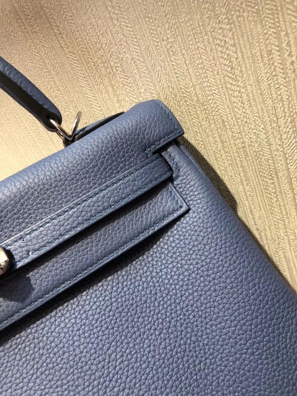 Hermes Kelly Bag 25cm R2玛瑙蓝 togo小牛皮原廠小牛皮 全手工蠟線縫 金扣
