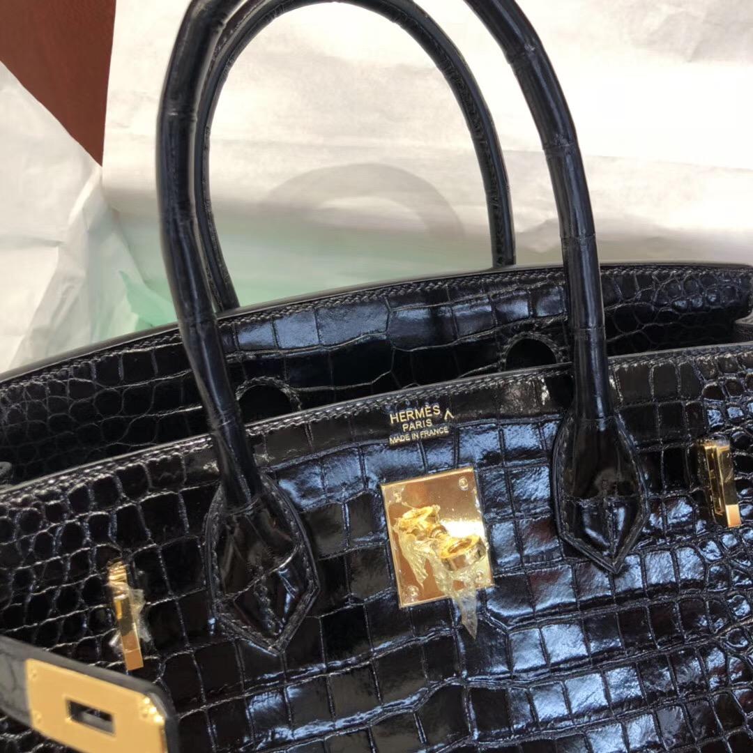 Hermes Birkin Bag 30cm CK89黑色 亮面倒V 澳洲灣鱷 金扣 完美紋路